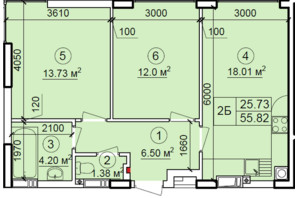 ЖК Петровский квартал: планировка 2-комнатной квартиры 55.82 м²