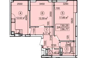 ЖК Петровский квартал: планировка 2-комнатной квартиры 56.77 м²