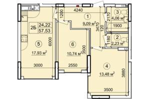 ЖК Петровский квартал: планировка 2-комнатной квартиры 57.53 м²