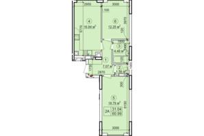 ЖК Петровский квартал: планировка 2-комнатной квартиры 60.99 м²