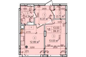 ЖК Петровский квартал: планировка 1-комнатной квартиры 39.31 м²