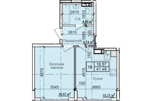 ЖК Петровский квартал: планировка 1-комнатной квартиры 41.48 м²