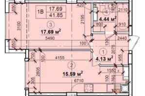 ЖК Петровский квартал: планировка 1-комнатной квартиры 41.85 м²