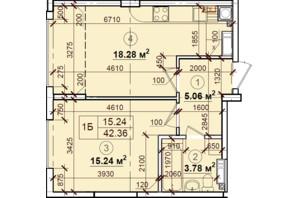 ЖК Петровский квартал: планировка 1-комнатной квартиры 42.36 м²