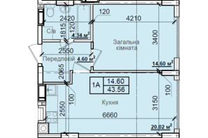 ЖК Петровский квартал: планировка 1-комнатной квартиры 43.56 м²
