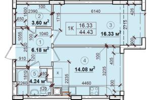 ЖК Петровский квартал: планировка 1-комнатной квартиры 44.43 м²