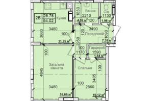 ЖК Петровский квартал: планировка 2-комнатной квартиры 54.02 м²