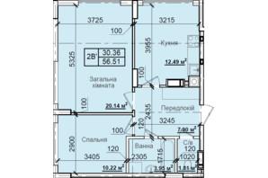 ЖК Петровский квартал: планировка 2-комнатной квартиры 56.51 м²