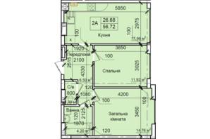 ЖК Петровский квартал: планировка 2-комнатной квартиры 56.72 м²