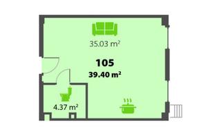 ЖК П'ятий Континент: планування 1-кімнатної квартири 39.4 м²