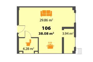 ЖК П'ятий Континент: планування 1-кімнатної квартири 38.03 м²