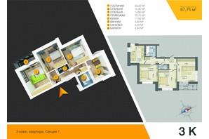 ЖК Південний: планування 3-кімнатної квартири 87.75 м²