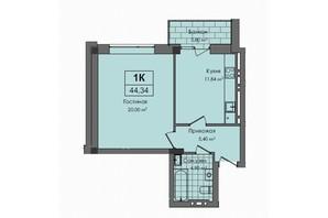 ЖК Південний: планування 1-кімнатної квартири 44.3 м²