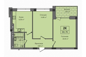 ЖК Південний: планування 2-кімнатної квартири 66.8 м²