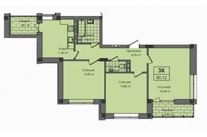 ЖК Південний: планування 3-кімнатної квартири 90.1 м²