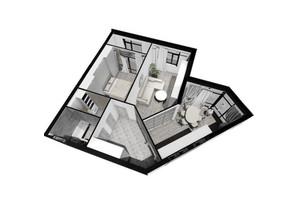 ЖК Plaza Kvartal: планировка 2-комнатной квартиры 69.12 м²