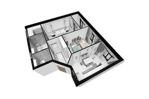 ЖК Plaza Kvartal: планировка 2-комнатной квартиры 61.17 м²
