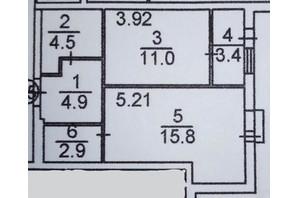 ЖК Plaza Kvartal: планировка 1-комнатной квартиры 42.5 м²