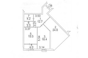ЖК Plaza Kvartal: планировка 2-комнатной квартиры 82.2 м²