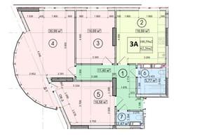 ЖК Podil Plaza & Residence: планування 3-кімнатної квартири 101.77 м²