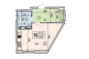 ЖК Podil Plaza & Residence: планування 1-кімнатної квартири 35.42 м²
