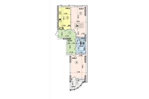 ЖК Podil Plaza & Residence: планування 2-кімнатної квартири 86.27 м²