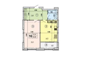 ЖК Podil Plaza & Residence: планування 1-кімнатної квартири 54.09 м²
