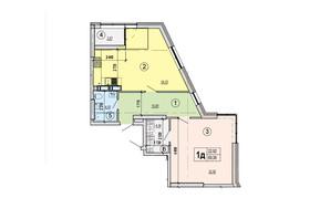 ЖК Podil Plaza & Residence: планування 1-кімнатної квартири 69.06 м²