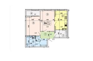 ЖК Podil Plaza & Residence: планування 2-кімнатної квартири 74.48 м²