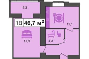 ЖК PodilSky: планування 1-кімнатної квартири 46.7 м²