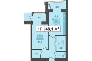ЖК PodilSky: планування 1-кімнатної квартири 48.1 м²