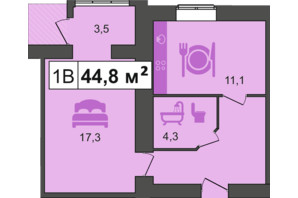 ЖК PodilSky: планування 1-кімнатної квартири 44.8 м²