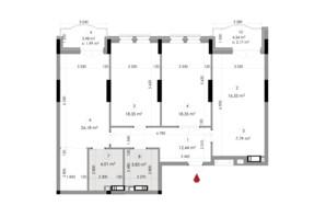 ЖК Подол Град Vintage: планировка 3-комнатной квартиры 84.26 м²