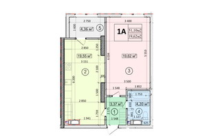 ЖК Podol Plaza & Residence: планировка 1-комнатной квартиры 51.1 м²