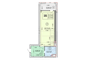 ЖК Podol Plaza & Residence: планировка 1-комнатной квартиры 35.51 м²