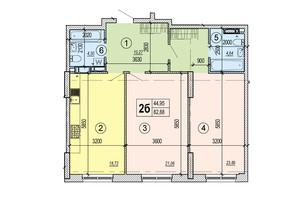 ЖК Podol Plaza & Residence: планировка 2-комнатной квартиры 82.88 м²
