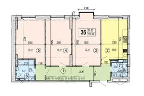 ЖК Podol Plaza & Residence: планировка 3-комнатной квартиры 100.78 м²