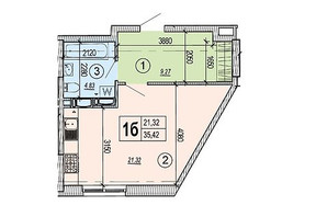 ЖК Podol Plaza & Residence: планировка 1-комнатной квартиры 35.42 м²