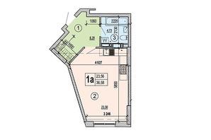 ЖК Podol Plaza & Residence: планировка 1-комнатной квартиры 36.58 м²
