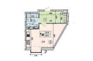 ЖК Podol Plaza & Residence: планировка 1-комнатной квартиры 36.61 м²