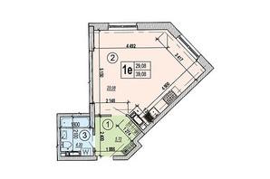ЖК Podol Plaza & Residence: планировка 1-комнатной квартиры 39.08 м²