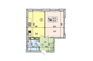 ЖК Podol Plaza & Residence: планировка 1-комнатной квартиры 46.2 м²