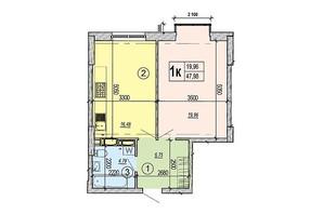 ЖК Podol Plaza & Residence: планировка 1-комнатной квартиры 47.98 м²