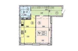 ЖК Podol Plaza & Residence: планировка 1-комнатной квартиры 56.41 м²