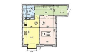 ЖК Podol Plaza & Residence: планировка 1-комнатной квартиры 58.2 м²