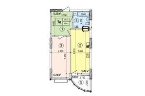ЖК Podol Plaza & Residence: планировка 1-комнатной квартиры 58.62 м²