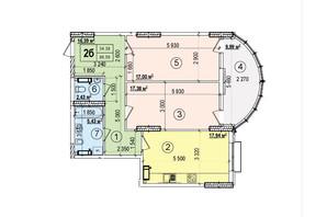 ЖК Podol Plaza & Residence: планировка 2-комнатной квартиры 86.56 м²