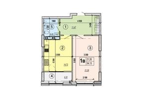 ЖК Podol Plaza & Residence: планировка 1-комнатной квартиры 54.13 м²