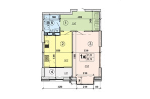 ЖК Podol Plaza & Residence: планировка 1-комнатной квартиры 56.19 м²