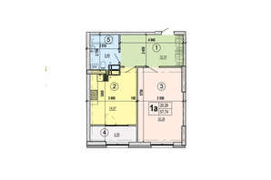 ЖК Podol Plaza & Residence: планировка 1-комнатной квартиры 57.74 м²
